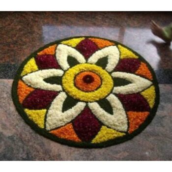 Rangoli Door Mat, Shaggy Beside Runner, Highly Durable and Easy to Clean (24 x 24 Inches)