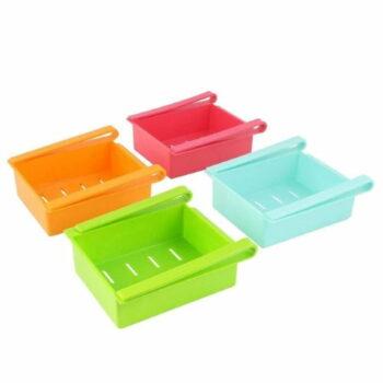 Set of 4 Pc Multipurpose Sturdy Plastic Fridge Storage Racks, Shelf for Easily Maintaining Your Extra Meals