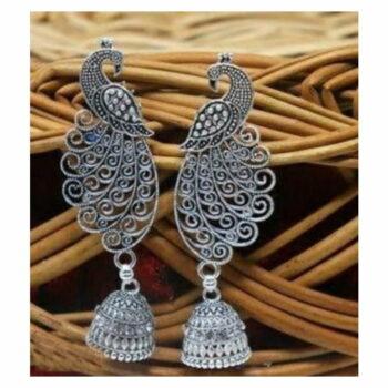 Silver Oxidized Peacock Jhumka – Stunning And Precious Look (1 Pair)
