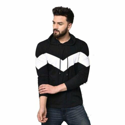 Stylish Graceful Men Hooded Cotton Tshirts Black
