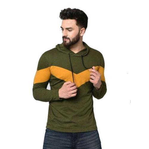 Stylish Graceful Men Hooded Cotton Tshirts Green