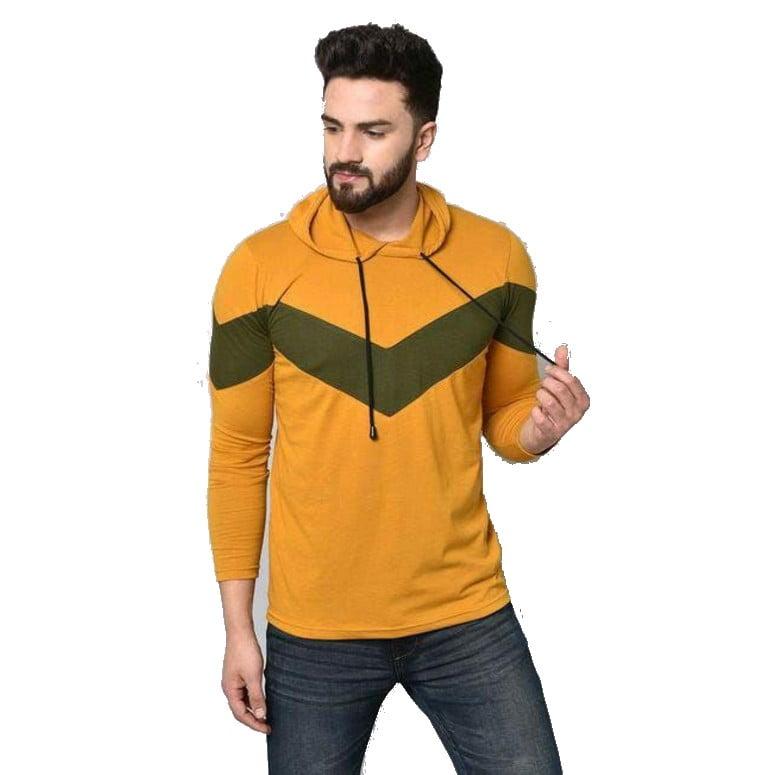 Stylish Graceful Men Hooded Cotton Tshirts Orange