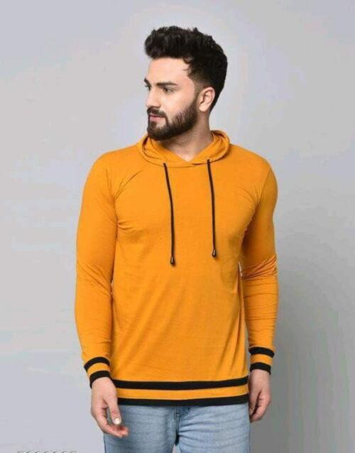 Stylish Graceful Solid Cotton Hooded Full Sleeves T Shirt Orange