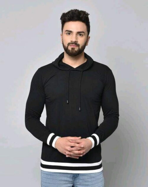 Stylish Graceful Solid Cotton Hooded Full Sleeves T Shirt Black