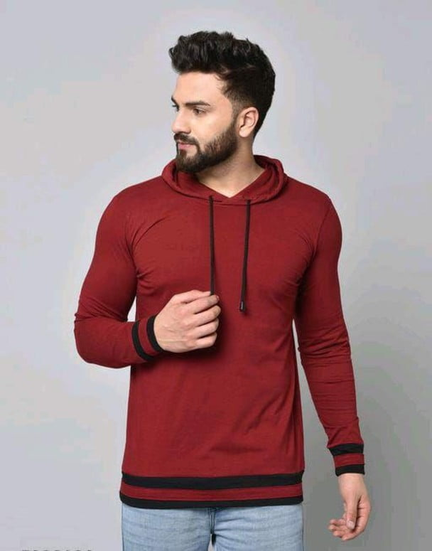 Stylish Graceful Solid Cotton Hooded Full Sleeves T Shirt Brown