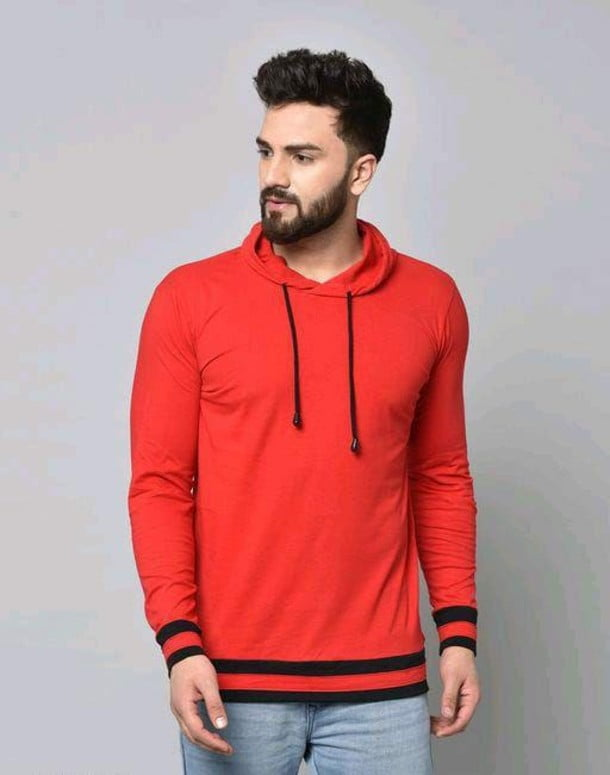 Stylish Graceful Solid Cotton Hooded Full Sleeves T Shirt Red