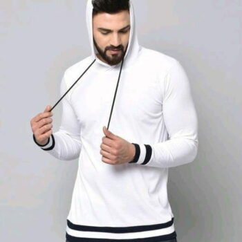 Stylish Graceful Solid Cotton Hooded Full Sleeves T Shirt White