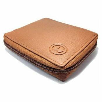 Stylish Leather Men's Zip Wallet (Tan)
