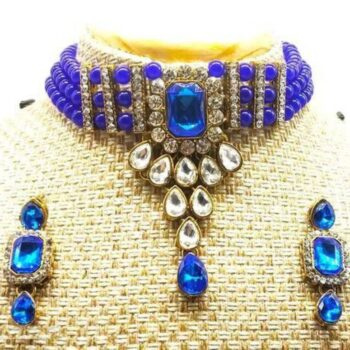 Traditional Bead & Stone Choker Necklace Set for Women Blue