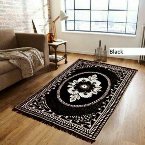 Traditional Home Jacquard Beautiful Kashmiri Carpet for Bedroom Black