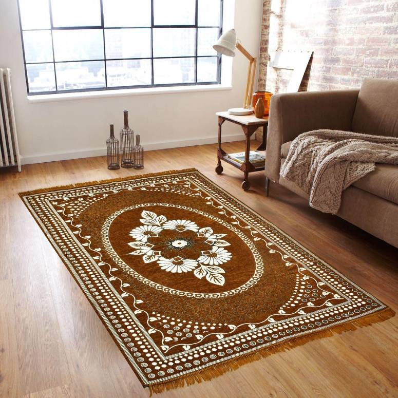 Traditional Home Jacquard Beautiful Kashmiri Carpet for Bedroom, Living Room, Rugs and Carpet- 5x7 Feet Golden