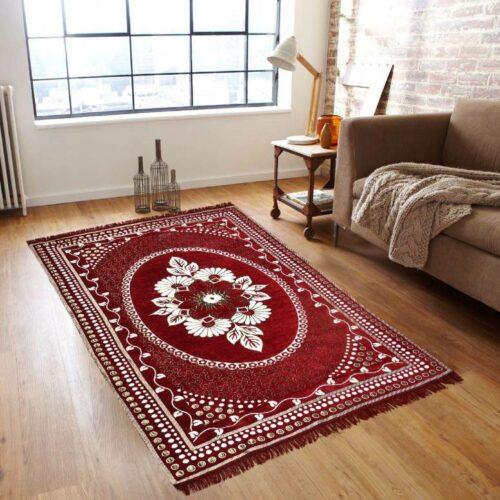 Traditional Home Jacquard Beautiful Kashmiri Carpet for Bedroom, Living Room, Rugs and Carpet- 5x7 Feet Maroon