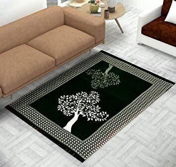 Tree Print Chenille Touch Carpet for Living Room Black