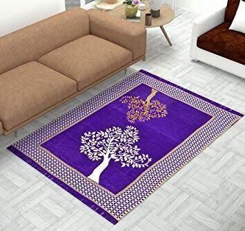 Tree Print Chenille Touch Carpet for Living Room Blue