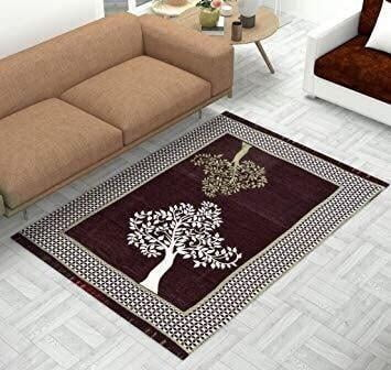 Tree Print Chenille Touch Carpet for Living Room Brown