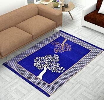 Tree Print Chenille Touch Carpet for Living Room Purple
