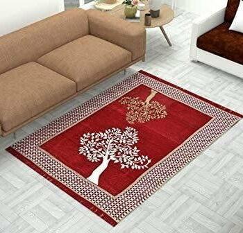 Tree Print Chenille Touch Carpet for Living Room
