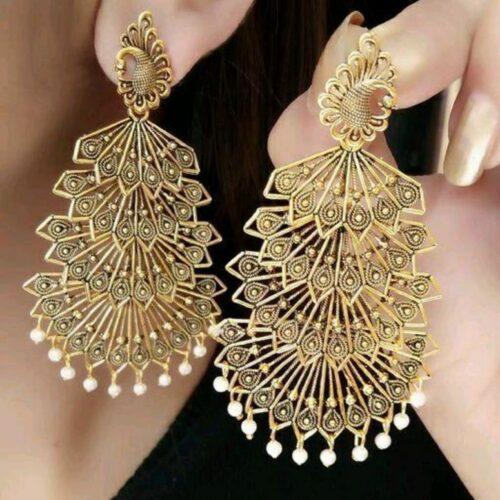 Twinkling Colorful Gold Oxidised Jhumki Earrings