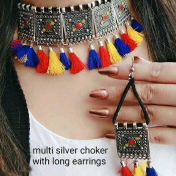 Twinkling Fusion Multi Silver Choker with Long Earrings