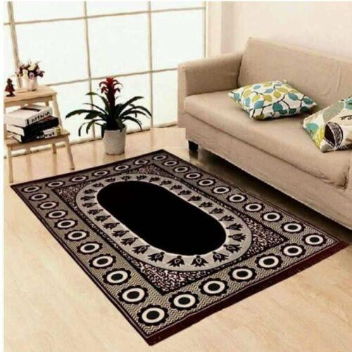 Velvet Touch Chenille Carpet for Living Room Hall Bedroom Drawing Room Dining Study Room 7x5 Feet Black