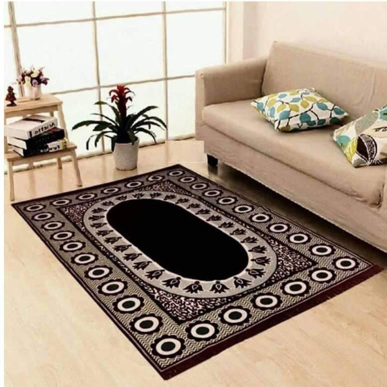 Velvet Touch Chenille Carpet for Living Room, Hall, Bedroom, Drawing Room, Dining, Study Room (7x5 Feet) Black