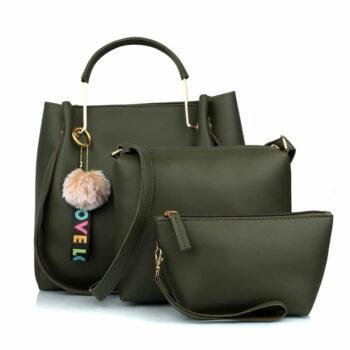 Women's Handbag (Set of 3) (3LR-BIB-Green_Green)