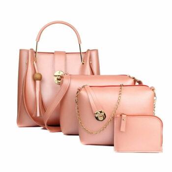Women's Handbag (Set of 4) Baby Pink