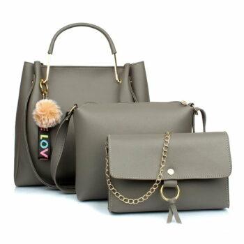 Women's Handbag & Sling Bag (Set of 3) (3LR-bib-Grey_Grey)