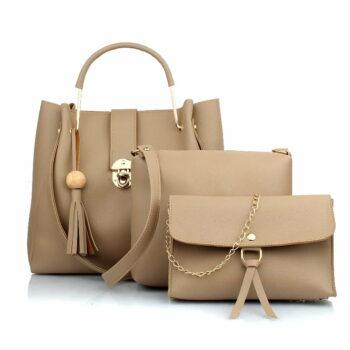 Women's Handbag With Sling Bag & Wristlet (Set of 3) Cream