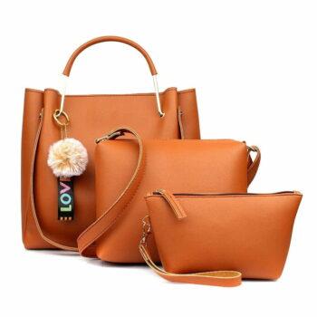 Women's Handbag with Sling (Set of 3) Tan