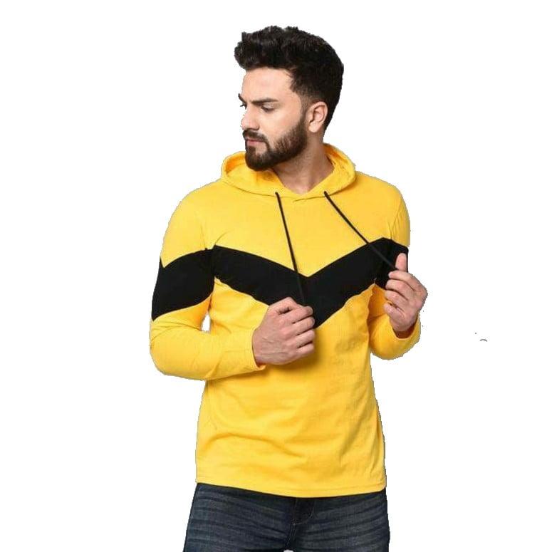 Yellow Stylish Graceful Men Hooded Cotton Tshirts