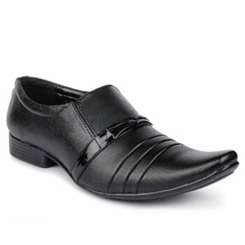 Black Solid Synthetic Formal Slip on Shoes