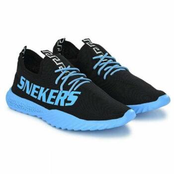 Blue Printed Mesh Sneaker Shoes for Men