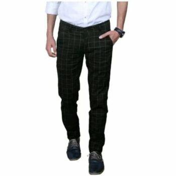 Checkered Men's Stylish Trouser (Black)