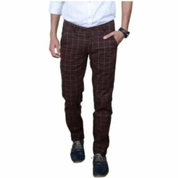 Checkered Men's Stylish Trouser (Brown)