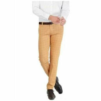 Checkered Men's Stylish Trouser (Cream)