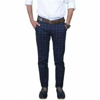 Checkered Men's Stylish Trouser (Navy Blue)