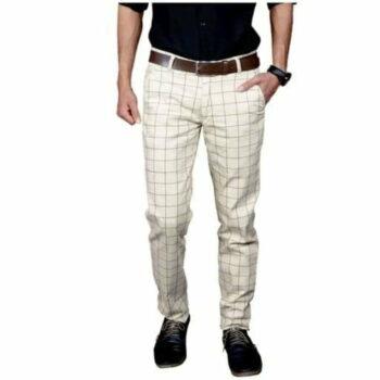 Checkered Men's Stylish Trouser (White)