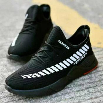 Elegant Men's Black Printed Mesh Sneakers Shoes
