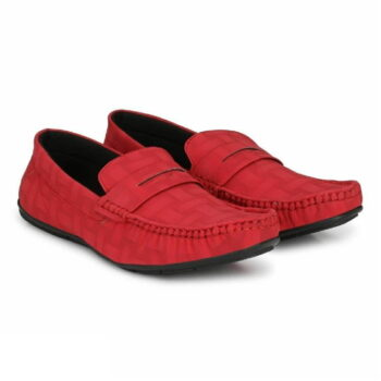 Elegant Red Solid Synthetic Leather Men's Loafers