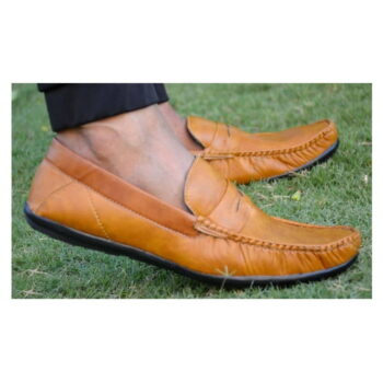 Elegant Tan Solid Synthetic Leather Men's Loafers