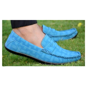 Elegant Turquoise Solid Synthetic Leather Men's Loafers