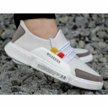 Men Off White Self Design Mesh Outdoor & Hiking Sneaker Shoes