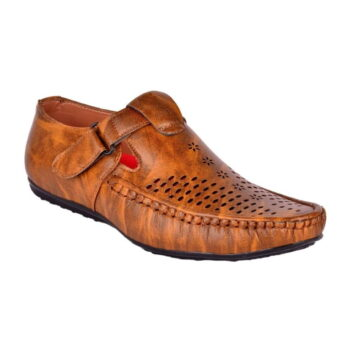 Men Tan Synthetic Leather Sandals