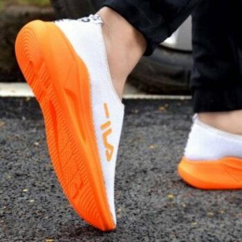 Men White Solid Mesh Sports Sneaker Tennis Shoes