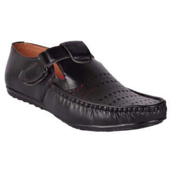 Men's Black Synthetic Leather Sandals