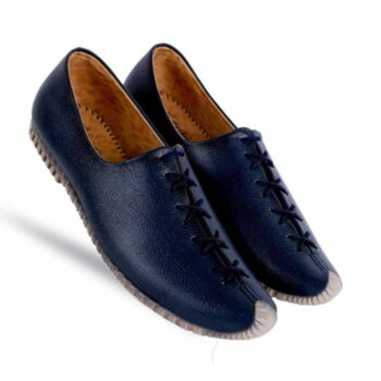 Men's Blue Synthetic Leather Solid Casual Shoes