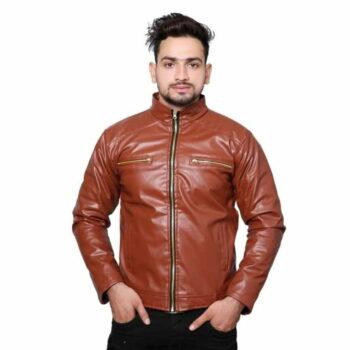 Men's PU Leather Jacket (Brown)