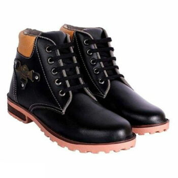 Men's Stylish Synthetic Leather Black Boots
