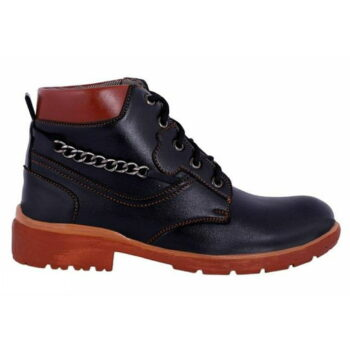 Men's Stylish Synthetic Leather Boots (Black)